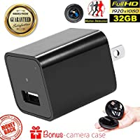 USB Wall Charger with Hidden Spy Camera – Concealed Indoor Camera with 32GB Memory – Motion Activated Video Surveillance – No WIFI Needed Home Security Nanny Camera with 1080p and Audio by Duddy-Cam