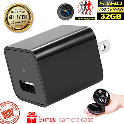 New Security Hidden Camera Charger - Spy Camera Wireless Hidden - 1080P HD USB Wall Charger with 32G Internal Memory Nanny Spy Motion Activated Adapter By Duddy-Cam