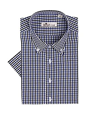 Mojessy Mens 100% Cotton Dress Shirts - Plaid Short Sleeve Non-Iron Button Down Collar