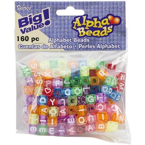 Alphabet Beads 8mm 160//Pkg-Transparent Glitter Multicolored Darice SG/_B004K1CHNS/_US