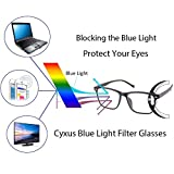 Cyxus Blue Light Blocking TR90 Lightweight Glasses,[Clear Lens] Anti Eye Fatigue Headaches Better Sleep Video Glasses (Matte Black Wood Grain Frame)
