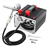 WST 110V,220V Mini Air Compressor Airbrush Kit Dual Action for Hobby Makeup Nail Art , 110v