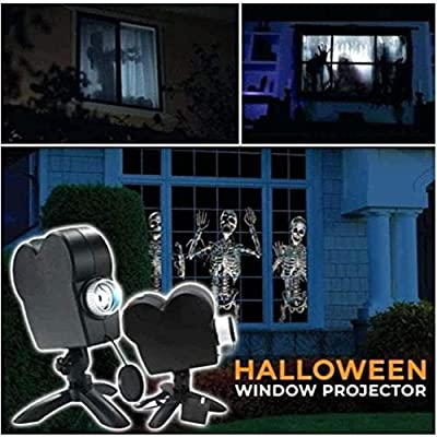 Proyección holográfica de Halloween, luz de proyector de ventana de Navidad, lámpara de proyección de 12 películas, decoración para exteriores/interiores: Amazon.es: Iluminación