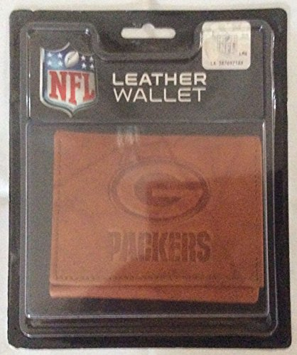 NFL Green Bay Packers Embossed Leather Trifold Wallet, Tan - Case Display Logo Browns