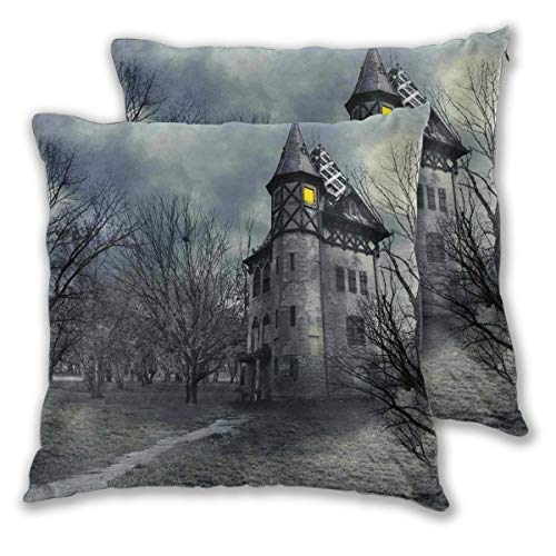 Decor Pillow Covers Polyester Plush Square Throw Pillow Sofa Cushion Covers Set, Halloween Design With Gothic Haunted House Dark Sky And Leafless Trees Spooky Theme,Couch Pillowcase Set of 2 Pack -