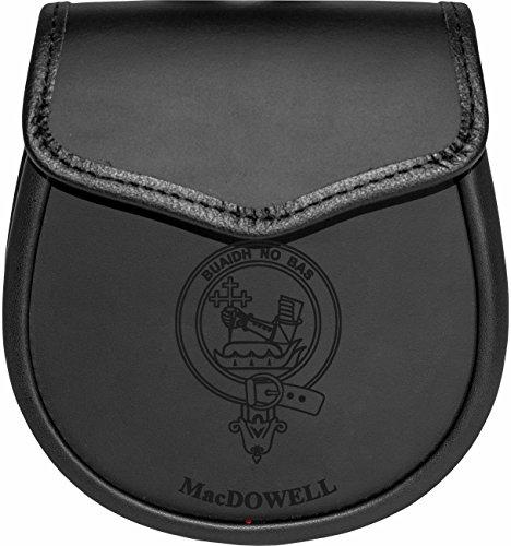 MacDowell Leather Day Sporran Scottish Clan Crest