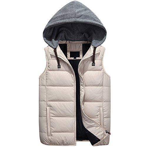 Autumn Windproof BOZEVON Coat Hooded Down Mens Vest Down Cap Splicing Sleeveless Waterproof Zipper Outwear Winter Beige Jacket amp; fqtxISgt