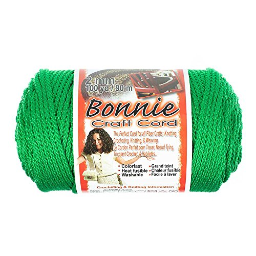 2mm Bonnie Crafting Cord - for Macramé, Knitting, and Weaving Crafts - 100 Yard Spools (Kelly)