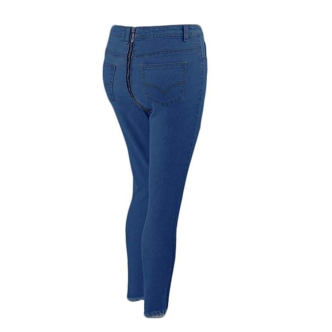 hibote Jeans Mujer Pantalones Vaqueros de Cintura Alta ...