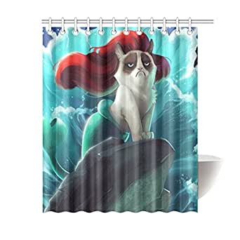 custom grumpy cat of little mermaid waterproof polyester fabric bathroom shower. Black Bedroom Furniture Sets. Home Design Ideas