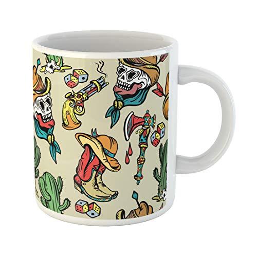 Semtomn Funny Coffee Mug Wild West Old School Tattoo Classic Flash Patches 11 Oz Ceramic Coffee Mugs Tea Cup Best Gift Or Souvenir