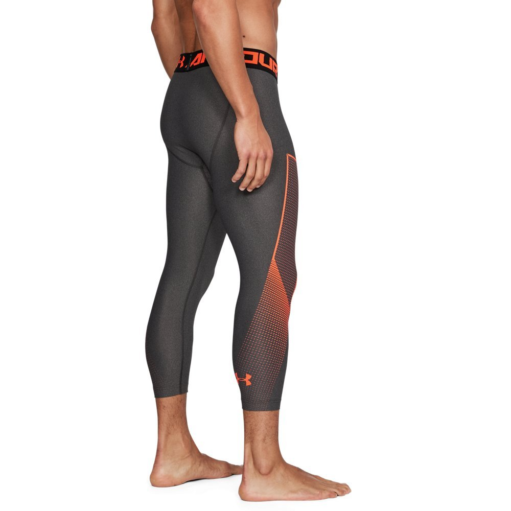 Under Armour Men's HeatGear Armour Graphic ¾ Leggings, Charcoal Light Heather (019)/Magma Orange, Small