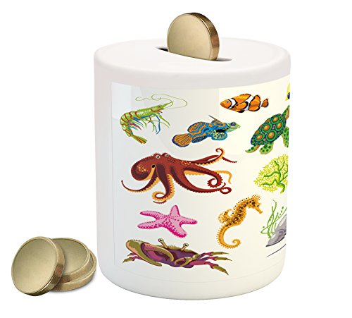 Marine Piggy Bank by Ambesonne, Sea Animals Octopus Dolphin Shells Stingray Crab Turtle Jellyfish Wildlife Graphic, Printed Ceramic Coin Bank Money Box for Cash Saving, - Ray Shell Hot