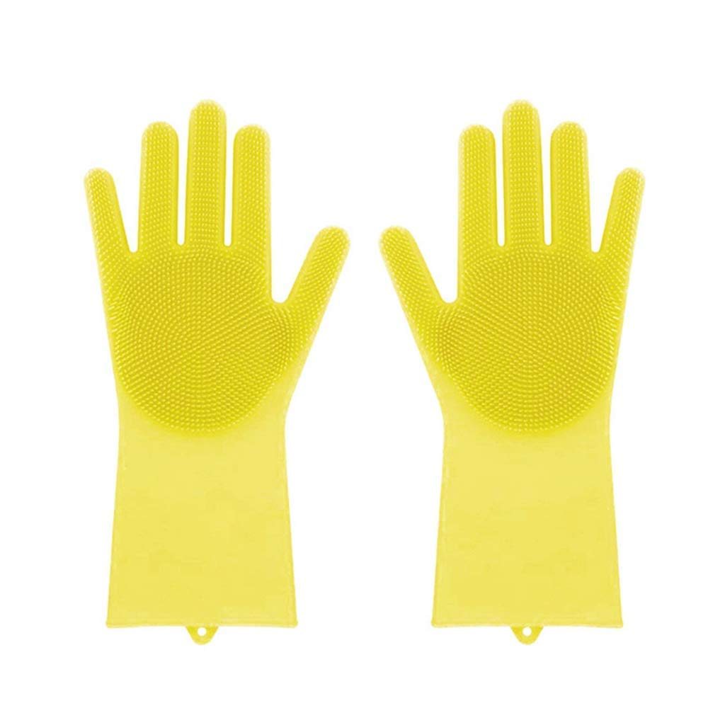 HMILYDYK Magic Silicone Glove Reuseable Cleaning Brush Scrubber Heat Resistance Household Dish Washing Car Washing Gloves, 1 Pair Yellow