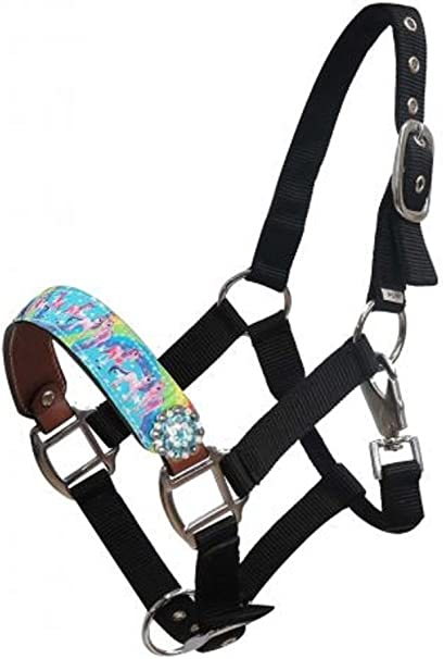 HORSE-PONY HEAD COLLAR AND LEAD ROPE-UNICORN-RAINBOW-PINK-BLUE-PURPLE-LILAC