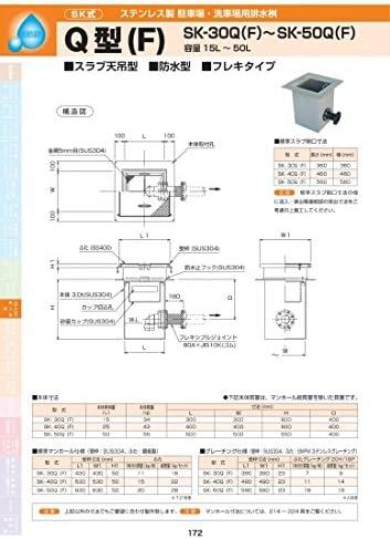 ステンレス製駐車場・洗車場用排水桝 Q型(F) SK-50Q(F) 耐荷重蓋仕様セット(ステンレス製ブレ―チング) T-20