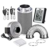 iPower GLFANXSETINLINE6D16RH 6 Inch 442 CFM Inline Fan Carbon Filter 16 Feet Ducting Combo with Humidity Monitor Grow Tent Ventilation, Grey