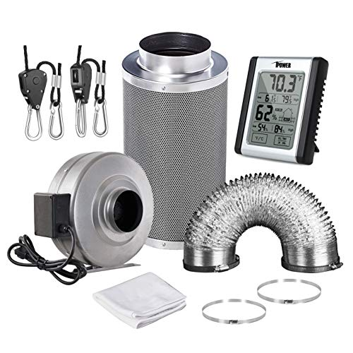 iPower GLFANXSETINLINE6D25RH 6 Inch 442 CFM Inline Fan Carbon Filter 25 Feet Ducting Combo with Humidity Monitor Grow Tent Ventilation, Grey by iPower (Image #8)