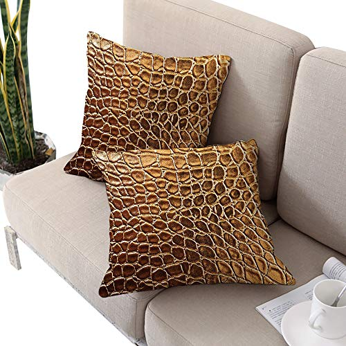 (Josepsh Animal Print Collection Square futon Cushion Cover,Tint Golden Crocodile Skin Nature Life Toughness High End Design Artwork Gold W14 xL14 2pcs Cushion Cases Pillowcases for Sofa Bedroom Car)
