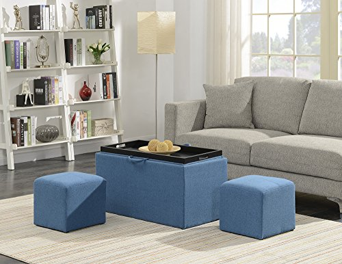 Convenience Concepts 143012FSBE Designs4Comfort Storage Bench, Soft Blue Fabric