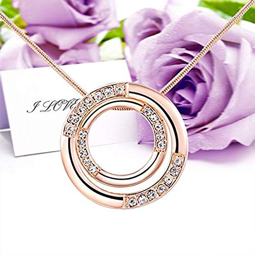 SANNYSIS Women Charm Pendant Rose Gold Plated Necklace Bicyclic Chain Necklace by Sannysis (Image #3)