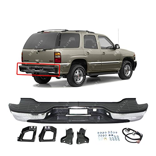 MBI AUTO - Chrome, Steel Complete Rear Bumper Assembly for 2000-2006 Chevy Tahoe/Suburban & GMC Yukon XL 00-06, GM1103103