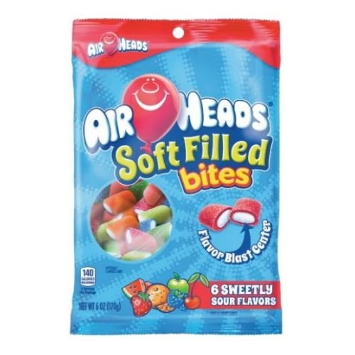 Air Heads Soft Filled Bites Candy, 6 Ounce Peg Bag - 12 per case.