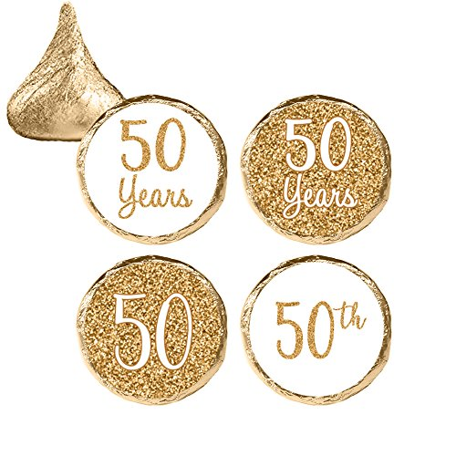 Gold 50th Anniversary Party Favor Stickers, 324 Count