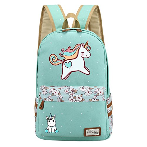 Kid's Girls Floral Animal Cartoon Funny School Backpack Cute Unicorn Shoulder Bag (Mint)