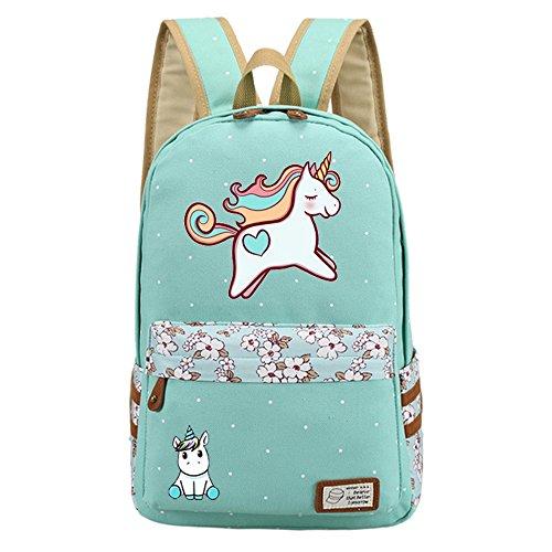 Kid's Girls Floral Animal Cartoon Funny School Backpack Cute Unicorn Shoulder Bag (Mint)