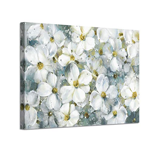 Abstract Flower Wall Art Picture: White Floral Artwork Painting on Canvas for Living Room (36'' x 24'' x 1 Panel) (Wall Art Yellow)