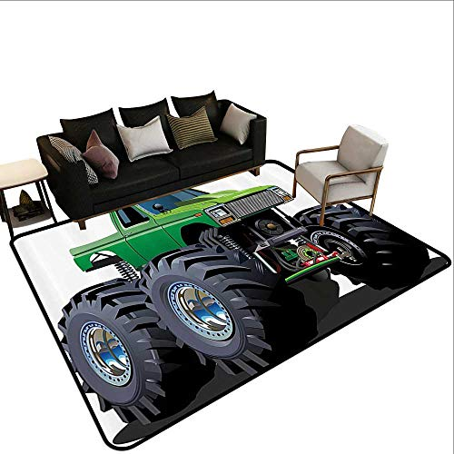 Rubber mat,Cars Decor,Giant Monster Pickup Truck with Large Size Tires and Suspension Extreme Biggest Wheel Print,Green Grey 78.7''x 94'' Floor mats for Kids by ParadiseDecor (Image #1)