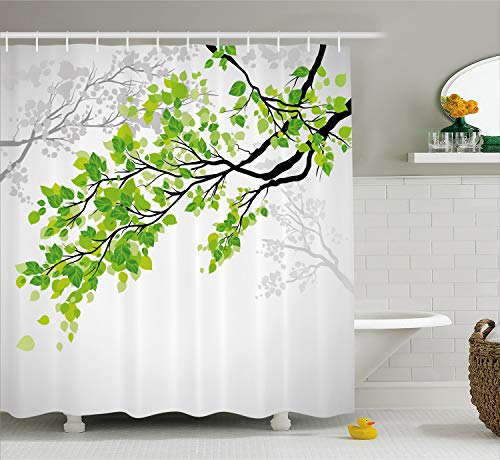 (Ambesonne Nature Decor Shower Curtain by, Twiggy Spring Tree Branch with Refreshing Leaves Summer Peace Woods Graphic, Fabric Bathroom Decor Set with Hooks, 70 Inches, Green Grey)