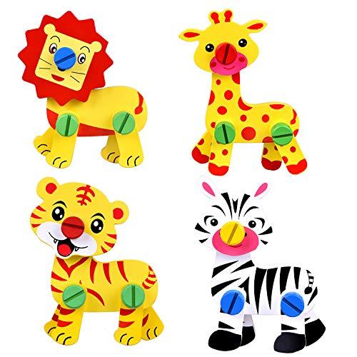 (Take Apart Toys, Wooden Blocks, Toddler Puzzles, 4 Pack Wooden Animals Toys, Wooden Puzzles for Toddlers, Goodie Bags)