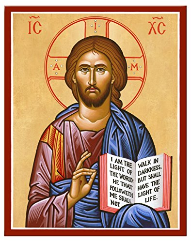 (Monastery Icons Jesus Christ the Teacher Mounted Plaque Icon Reproduction 7.8