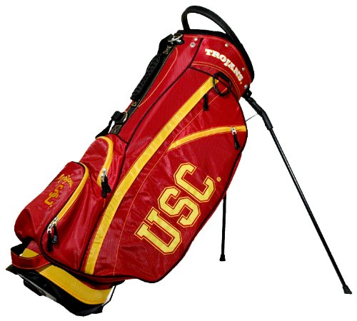 (Team Golf NCAA USC Trojans Fairway Golf Stand Bag, Lightweight, 14-way Top, Spring Action Stand, Insulated Cooler Pocket, Padded Strap, Umbrella Holder & Removable Rain)