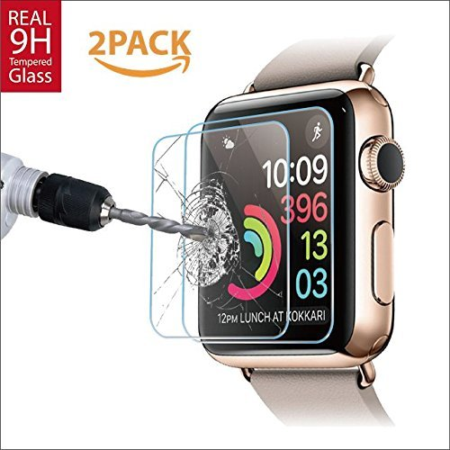 42mm [2 Pack] Apple Watch Screen protector for Series 1, 2 & 3, Amazingforless Premium Anti-Scratch Tempered Glass Screen protector [Only Covers the Flat Area] (2 Thick 1 Glass)