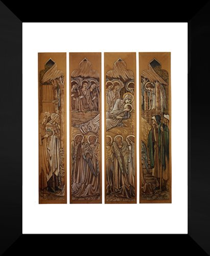 The Nativity, Cartoons For Stained Glass At St. David's Church, Hawarden 20x24 Framed Art Print by Burne Jones, Edward