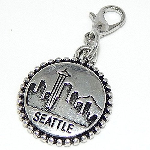 (GemStorm Silver Plated Dangling Seattle Pendant Clip On Lobster Clasp Charm)