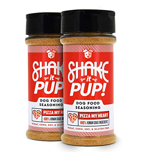 (Shake it Pup! Dog Food Seasoning Topper - Natural, Human Grade Mixer, Broth, Treat, and Gravy for Dogs Kibble or Raw, 4.5oz Bottles (Pizza My Heart, 2-Pack))