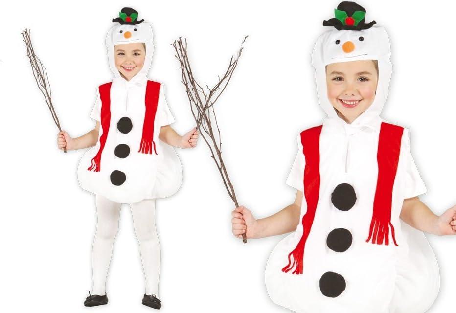 GUIRMA 42509 - Disfraz de muñeco de Nieve, Color Blanco, 3-4 años ...