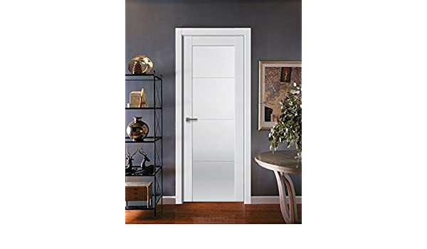Sarto Quadro Interior Panel Flush Solid Wood Modern Stripes Prehung Door White Silk Frosted Glass with frames casings hinges lock knob (4-glass panels)  sc 1 st  Amazon.com & Sarto Quadro Interior Panel Flush Solid Wood Modern Stripes Prehung ...