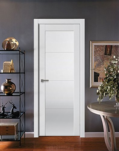 Interior frosted glass door Pine Sarto Quadro Interior Panel Flush Solid Wood Modern Stripes Prehung Door White Silk Frosted Glass With Amazoncom Sarto Quadro Interior Panel Flush Solid Wood Modern Stripes Prehung