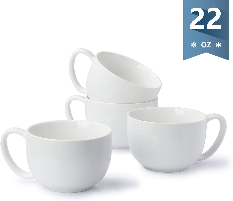 Sweese 613.101 Coffee Mug - 22 oz Jumbo Soup Bowl and Cereal Mugs, Set of 4, White