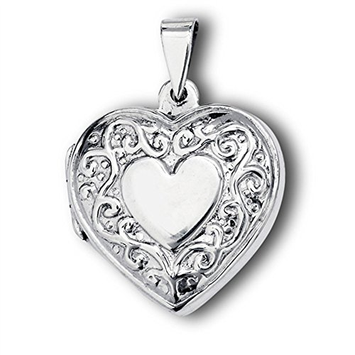 (Promise Heart Pendant .925 Sterling Silver Vintage Style Filigree Charm Jewelry Making Supply Pendant Bracelet DIY Crafting by Wholesale Charms)