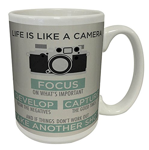 Life is a Camera Inspirational Motivational Photography Quote Ceramic Gift Coffee (Tea, Cocoa) Mug, 15 Ounce