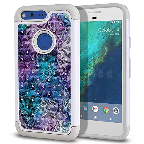 - FINCIBO Case Compatible with Google Pixel XL (5.5 inch) HTC 2016, Dual Layer Hybrid Protector Case Cover TPU Rhinestone Bling for Pixel XL 2016 (NOT FIT Pixel 5 inch) - Abstract Leopard Skin