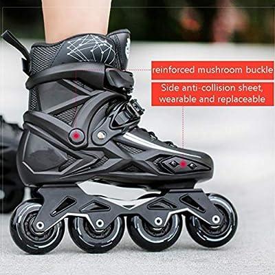 Sljj Adult Indoor Outdoor Professional Black Inline Skates Combo, Comfortable Speed Roller Skates for Beginner White (Color : Black, Size : 42 EU): Home & Kitchen