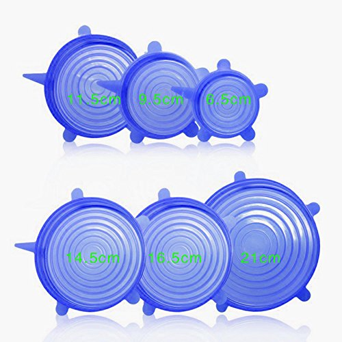 NiceEshop(TM) Silicone Fresh Lids Stretchy Silicone Cover Reusable Food Seal Saving Wrap for Various Sizes Shapes of Bowls,Set of 6,Blue