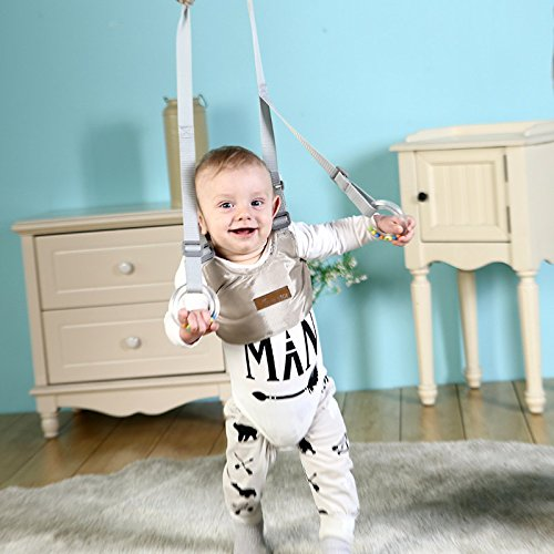 Handheld Baby Walker with Self-Adaptable Rings, Safety Baby Walking Wings Learning Walk Assistant Harness Toddler Practice Walk Helper for 7-24 Months Baby - Grey